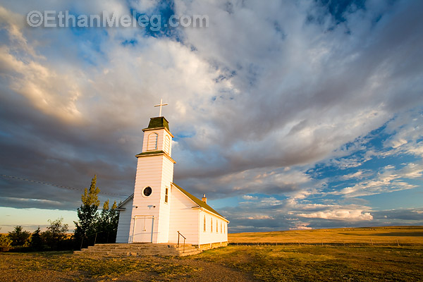 Church in prairie landscape, southern Saskatchewan.