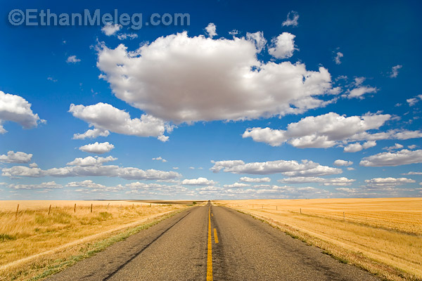 Praires of southern Saskatchewan - road and big sky.